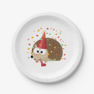 Confetti Party Hedgehog Paper Plate