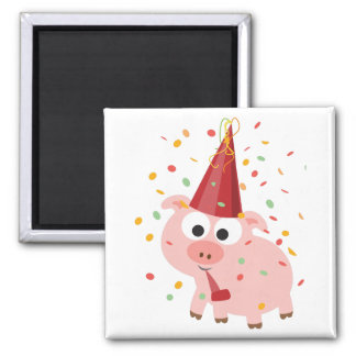 Confetti Party Pig 2 Inch Square Magnet