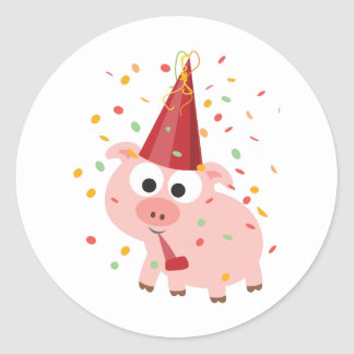 Confetti Party Pig Classic Round Sticker