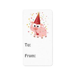 Confetti Party Pig Address Label