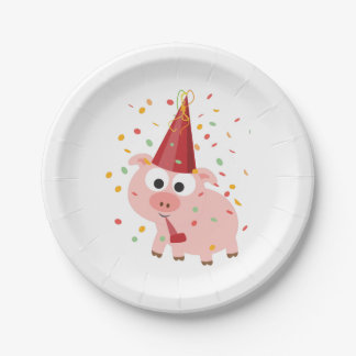 Confetti Party Pig Paper Plate