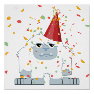 Confetti Party Yeti Poster