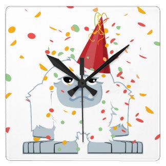 Confetti Party Yeti Square Wall Clock
