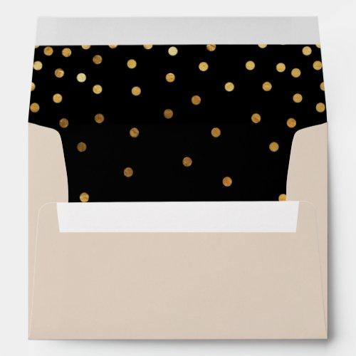 Confetti Patterned | Faux Gold Foil Dots & Eccru Envelope