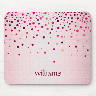 Confetti Pink Linen Glitter Girly Dots Mouse Pad