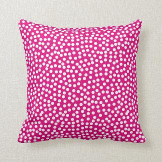 Confetti Polka Dot Pattern Hot Pink Throw Pillow