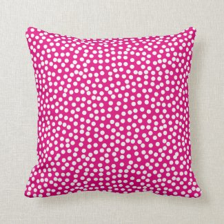 Confetti Polka Dot Pattern Hot Pink Throw Pillows