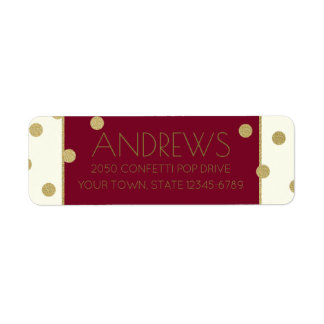 Confetti Pop Burgundy and Gold Address Label