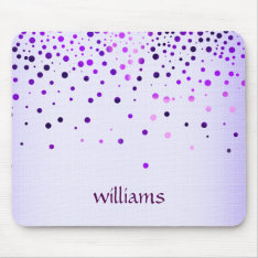 Confetti Purple Linen Glitter Girly Dots Mouse Pad at Zazzle