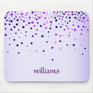 Confetti Purple Linen Glitter Girly Dots Mouse Pad