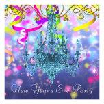Confetti Purple Teal Blue Chandelier New Years Eve Custom Invites