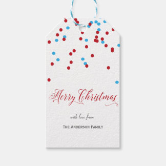 Confetti red & blue Merry Christmas gift tags