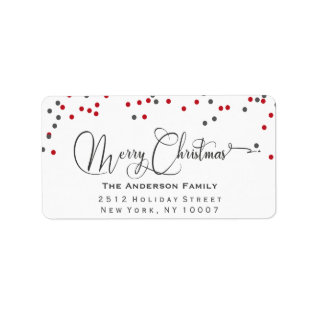 Confetti Red & Gray Merry Christmas Address Label at Zazzle