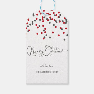 Confetti red & gray Merry Christmas gift tags