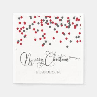 Confetti Red & Gray Merry Christmas Napkins at Zazzle