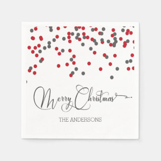 Confetti red & gray Merry Christmas napkins