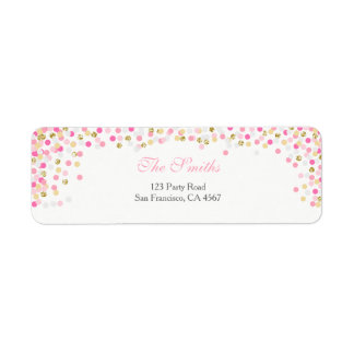 Confetti Return Address Label Pink Gold Girl Baby