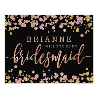 Confetti Rose Gold Will You Be My Bridesmaid Card