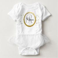 Confetti Silver/Gold Monogram Baby Bodysuit