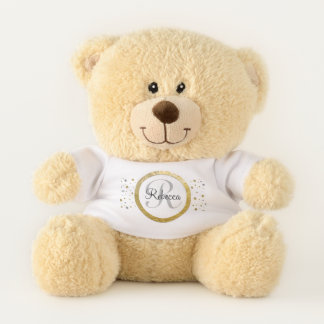 Confetti Silver/Gold Monogram Name Letter Teddy Bear