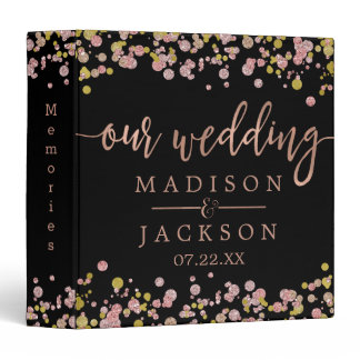 Confetti Sparkle Rose Gold Wedding Photo Album 3 Ring Binder