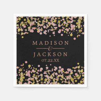 Confetti Sparkle Shine Rose Gold Wedding Monogram Paper Napkin
