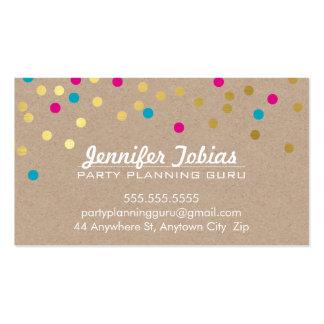 CONFETTI SPOT pattern modern gold aqua pink kraft Business Card