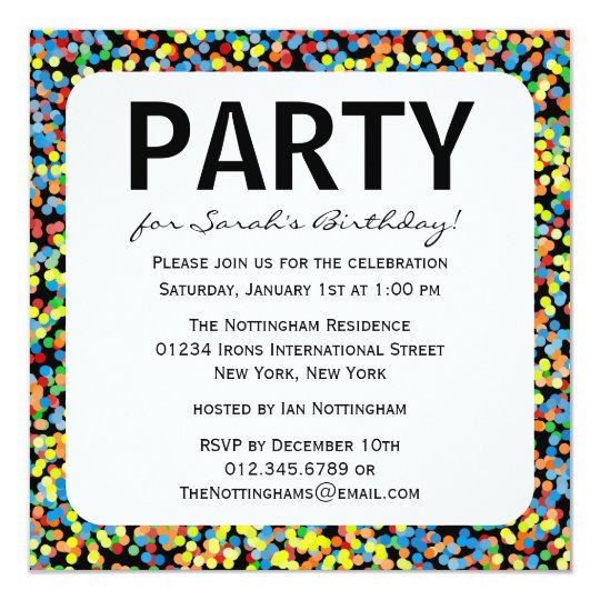 Confetti Sprinkles Birthday Party Card