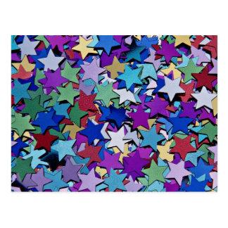 Confetti, star shapes postcard