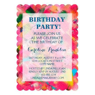 Confetti Storm Abstract-Art Birthday Invitations