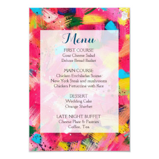 Confetti Storm Wedding Menu Card