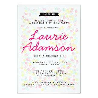 """Confetti Surprise Birthday Party Invitations 5"""" X 7"""" Invitation Card"""