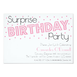 Confetti Surprise Birthday Party Invites (Pink)