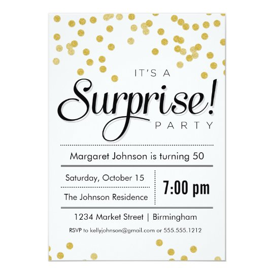 Confetti Surprise Party Invitation – Shhh Surprise Party Invitations