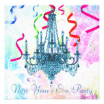 Confetti Teal Chandelier Fireworks New Years Eve Announcements