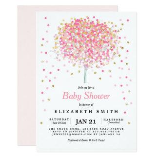 Confetti Tree Baby Shower Invitation Pink Gold