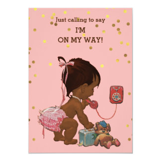 Confetti Vintage Ethnic Baby on Phone Baby Shower Card