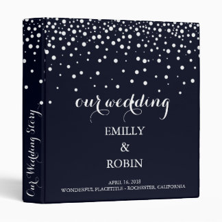 Confetti White Dots Elegant Navy Blue Wedding 3 Ring Binder