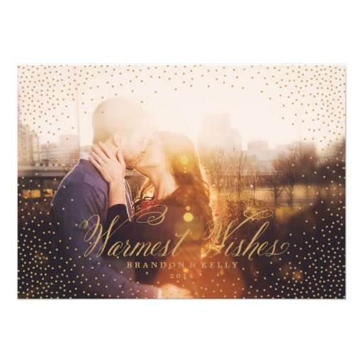 Confetti WISHES Gold Christmas Holiday Card
