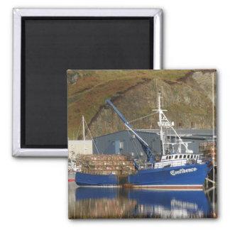 Confianza, barco del cangrejo en el puerto holandé imán para frigorífico