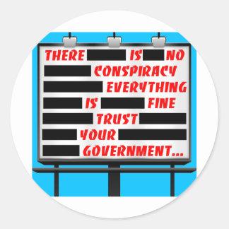 Confianza de la cartelera su gobierno pegatina redonda