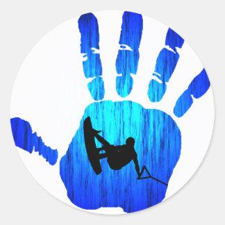 Confianza de la mano de Wakeboard Pegatina Redonda