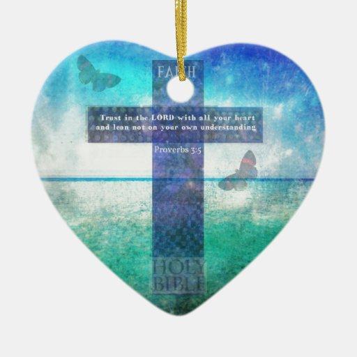 Confianza del 3:5 de los proverbios en el señor adornos de navidad