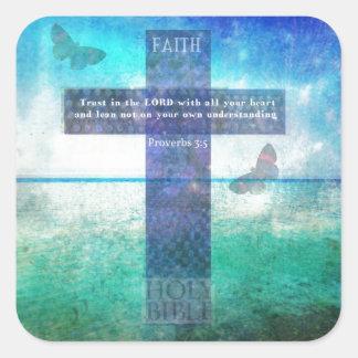 Confianza del 3:5 de los proverbios en el señor pegatina cuadrada