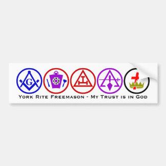 Confianza del rito de York en dios Etiqueta De Parachoque