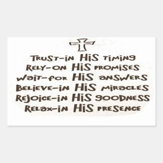 Confianza en dios pegatina rectangular