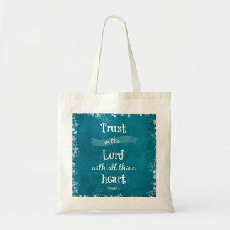 Confianza en el señor Bible Verse Bolsa Tela Barata