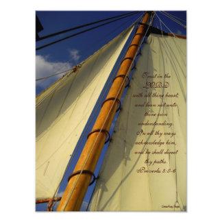 Confianza en el señor Ship Sails Print Cojinete