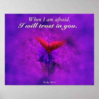 Confianza en poster púrpura del cristiano de la ma