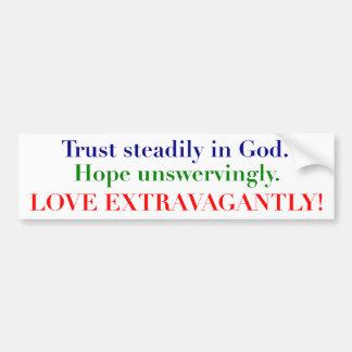 Confianza, esperanza y amor etiqueta de parachoque